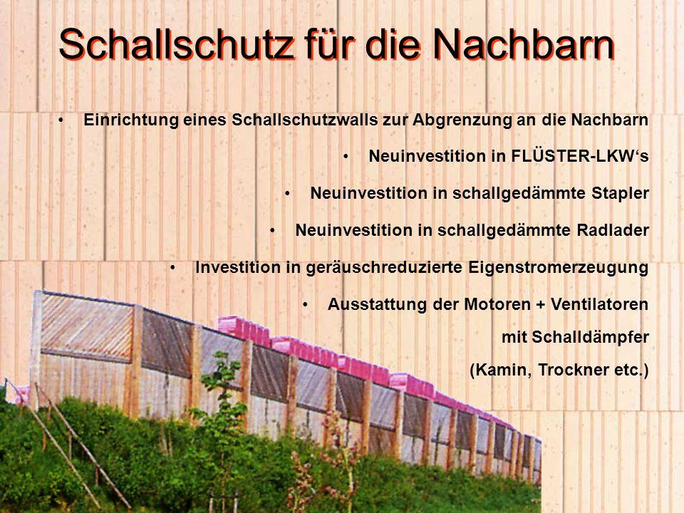 Schallschutz für die Nachbarn Einrichtung eines Schallschutzwalls zur Abgrenzung an die Nachbarn Neuinvestition in FLÜSTER-LKWs Neuinvestition in scha