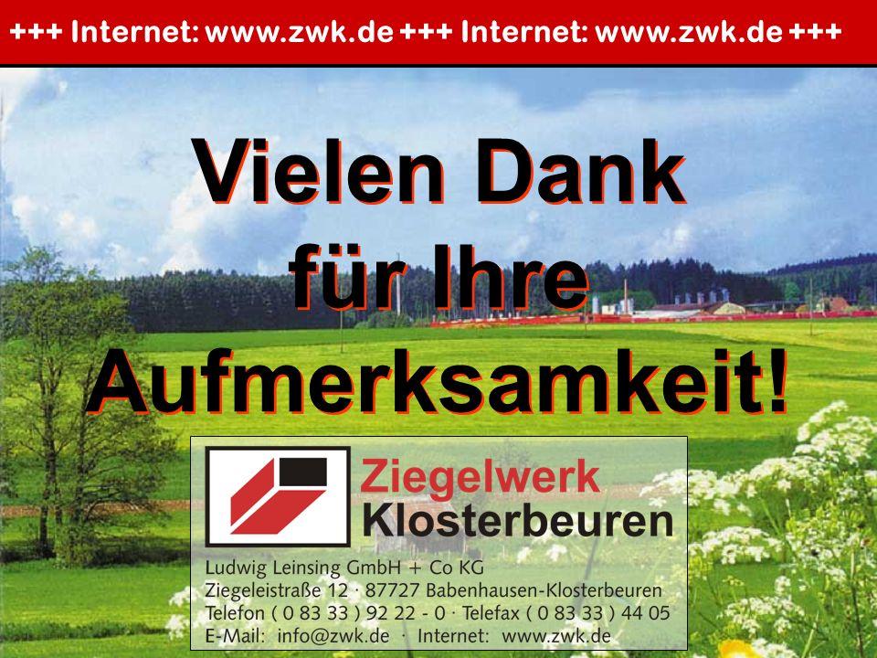 Vielen Dank für Ihre Aufmerksamkeit! Vielen Dank für Ihre Aufmerksamkeit! +++ Internet: www.zwk.de +++ Internet: www.zwk.de +++