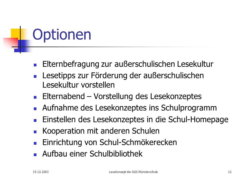 15.12.2003Lesekonzept der GGS Münsterschule12 Optionen Elternbefragung zur außerschulischen Lesekultur Lesetipps zur Förderung der außerschulischen Le