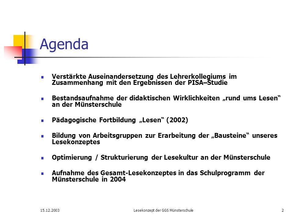15.12.2003Lesekonzept der GGS Münsterschule3 LESEN Bausteine unserer Arbeit Öffnung der Schule Rituale Unterrichts- inhalte und -methoden Neue Medien Diagnostik und Förderung Präsentation Lese- aktionen Leitlinien