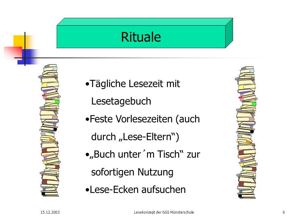 15.12.2003Lesekonzept der GGS Münsterschule6 Rituale Tägliche Lesezeit mit Lesetagebuch Feste Vorlesezeiten (auch durch Lese-Eltern) Buch unter´m Tisc