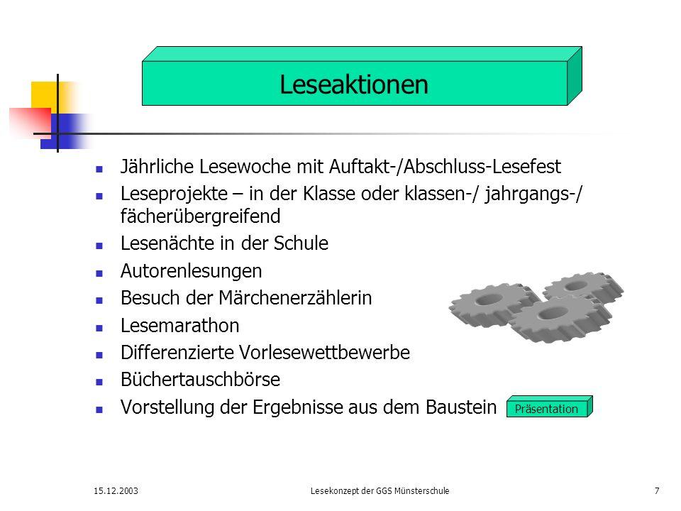 15.12.2003Lesekonzept der GGS Münsterschule7 Jährliche Lesewoche mit Auftakt-/Abschluss-Lesefest Leseprojekte – in der Klasse oder klassen-/ jahrgangs