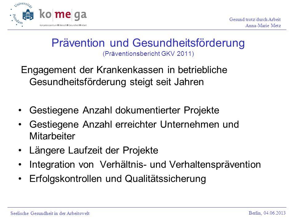 Gesund trotz/durch Arbeit Anna-Marie Metz Berlin, 04.06.2013 Seelische Gesundheit in der Arbeitswelt Engagement der Krankenkassen in betriebliche Gesu