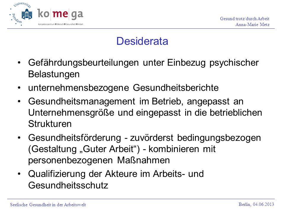 Gesund trotz/durch Arbeit Anna-Marie Metz Berlin, 04.06.2013 Seelische Gesundheit in der Arbeitswelt Gefährdungsbeurteilungen unter Einbezug psychisch