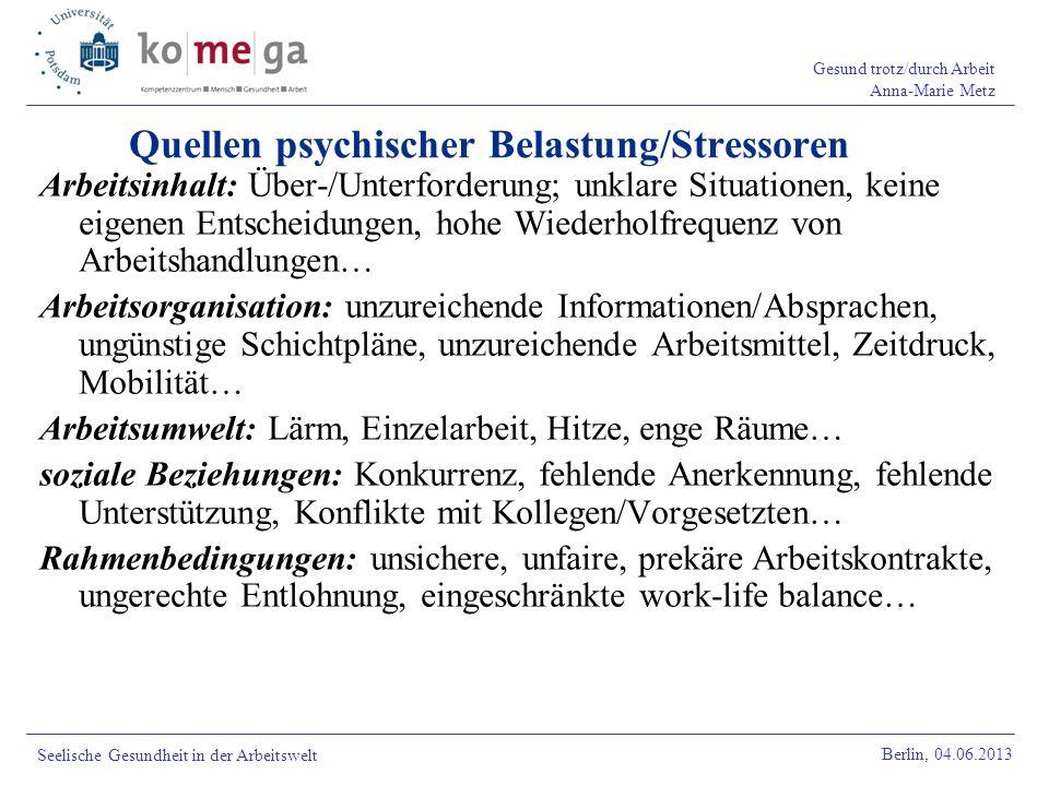 Gesund trotz/durch Arbeit Anna-Marie Metz Berlin, 04.06.2013 Seelische Gesundheit in der Arbeitswelt Quellen psychischer Belastung/Stressoren Arbeitsi