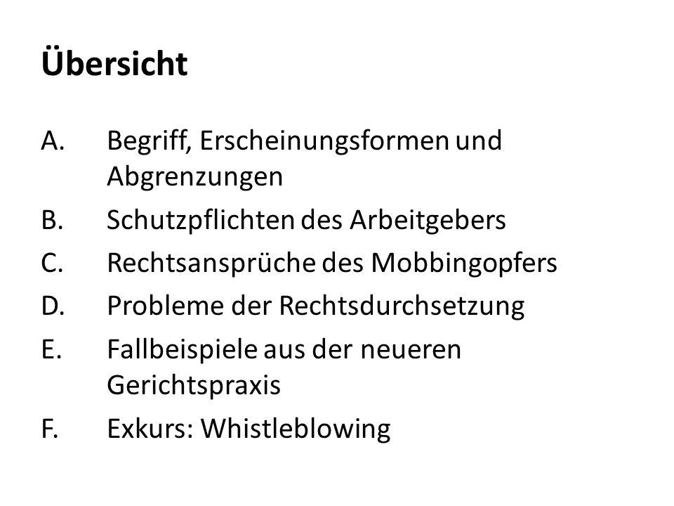 Übersicht A.Begriff, Erscheinungsformen und Abgrenzungen B.Schutzpflichten des Arbeitgebers C.Rechtsansprüche des Mobbingopfers D.Probleme der Rechtsd
