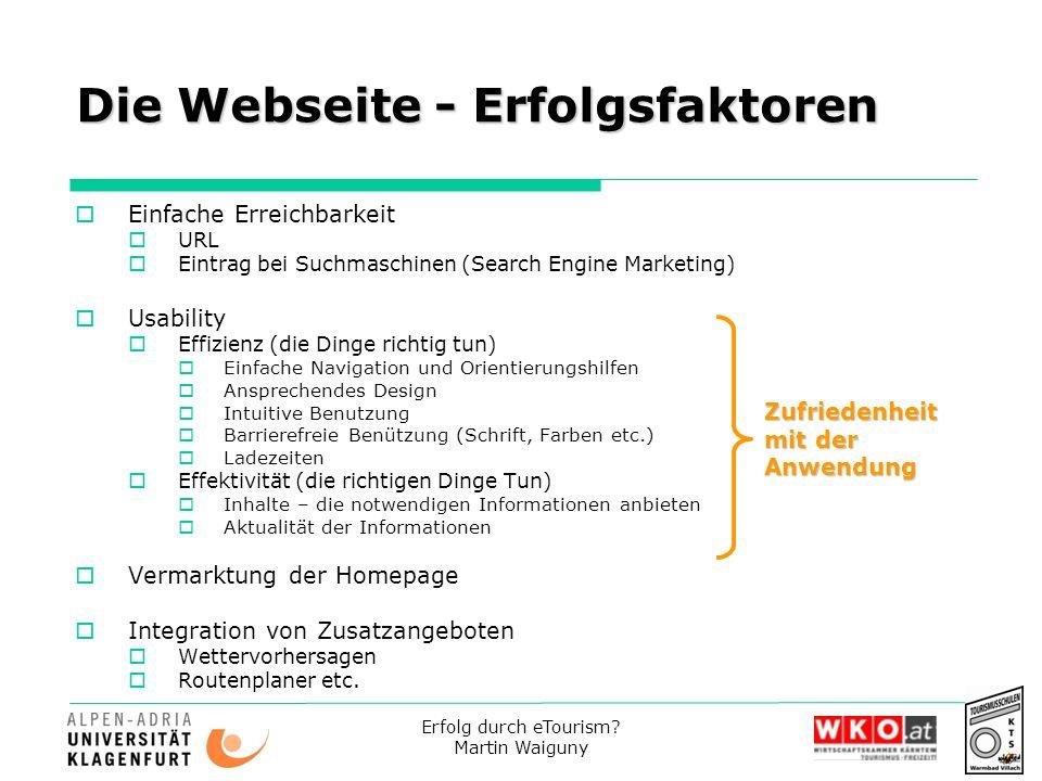Erfolg durch eTourism? Martin Waiguny Die Webseite - Erfolgsfaktoren Einfache Erreichbarkeit URL Eintrag bei Suchmaschinen (Search Engine Marketing) U
