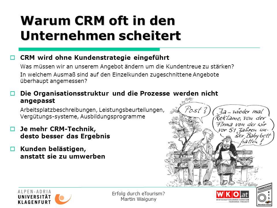 Erfolg durch eTourism? Martin Waiguny Warum CRM oft in den Unternehmen scheitert CRM wird ohne Kundenstrategie eingeführt Was müssen wir an unserem An