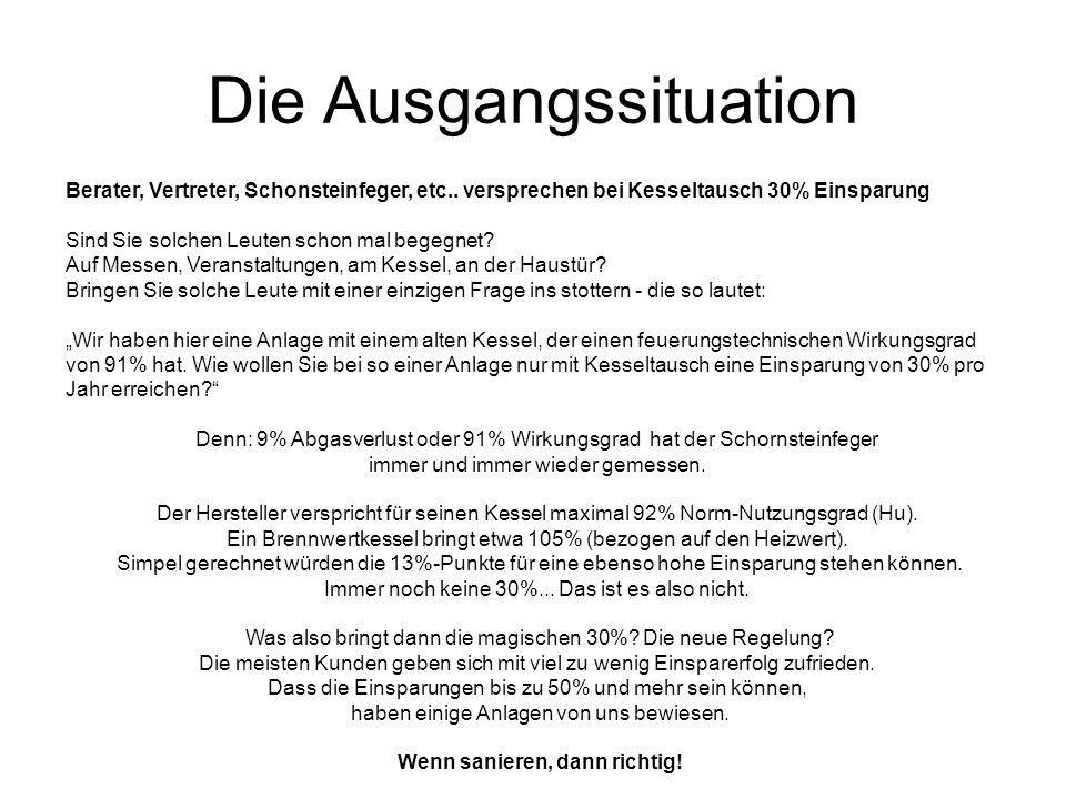 Die Ausgangssituation Berater, Vertreter, Schonsteinfeger, etc..