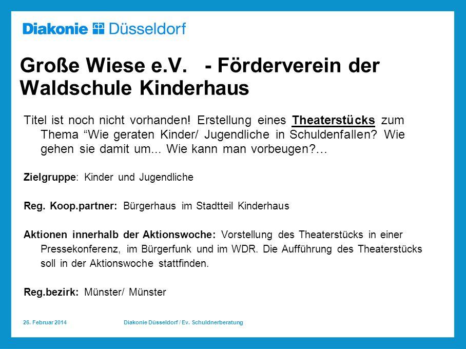 26.Februar 2014 Diakonie Düsseldorf / Ev. Schuldnerberatung Große Wiese e.V.