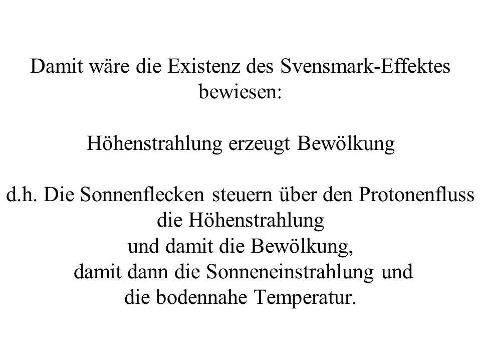 Damit wäre die Existenz des Svensmark-Effektes bewiesen: Höhenstrahlung erzeugt Bewölkung d.h. Die Sonnenflecken steuern über den Protonenfluss die Hö