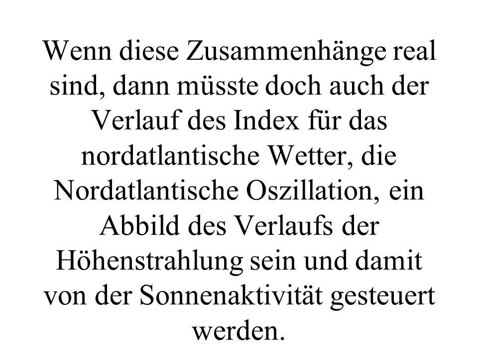 Wenn diese Zusammenhänge real sind, dann müsste doch auch der Verlauf des Index für das nordatlantische Wetter, die Nordatlantische Oszillation, ein A