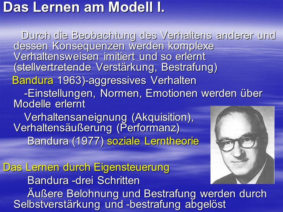 Das Lernen am Modell I. Durch die Beobachtung des Verhaltens anderer und dessen Konsequenzen werden komplexe Verhaltensweisen imitiert und so erlernt