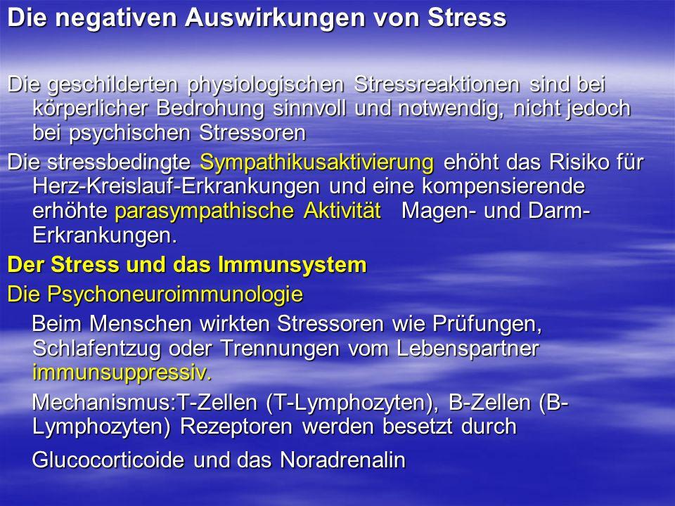 Die negativen Auswirkungen von Stress Die geschilderten physiologischen Stressreaktionen sind bei körperlicher Bedrohung sinnvoll und notwendig, nicht