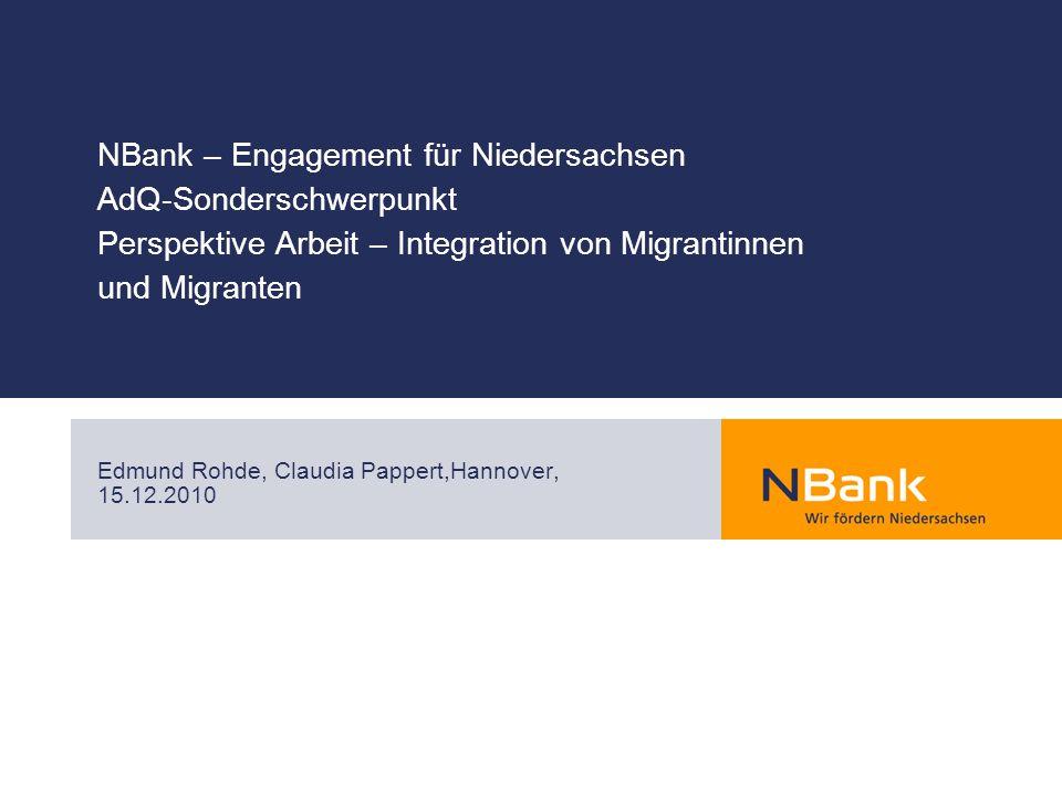 NBank – Engagement für Niedersachsen AdQ-Sonderschwerpunkt Perspektive Arbeit – Integration von Migrantinnen und Migranten Edmund Rohde, Claudia Pappe