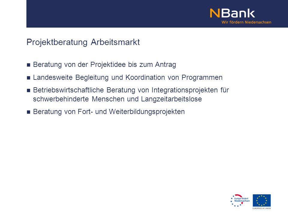 Projektberatung Arbeitsmarkt Beratung von der Projektidee bis zum Antrag Landesweite Begleitung und Koordination von Programmen Betriebswirtschaftlich