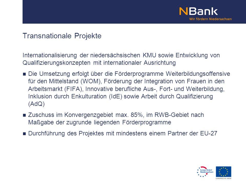 Internationalisierung der niedersächsischen KMU sowie Entwicklung von Qualifizierungskonzepten mit internationaler Ausrichtung Die Umsetzung erfolgt ü