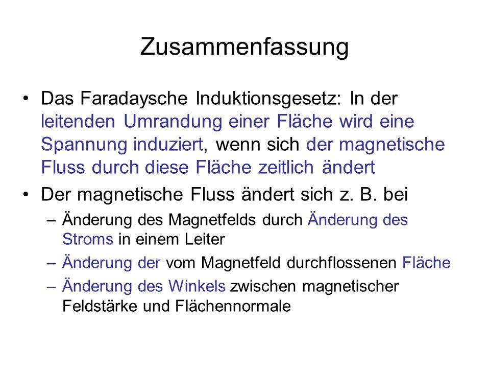 Zusammenfassung Das Faradaysche Induktionsgesetz: In der leitenden Umrandung einer Fläche wird eine Spannung induziert, wenn sich der magnetische Flus