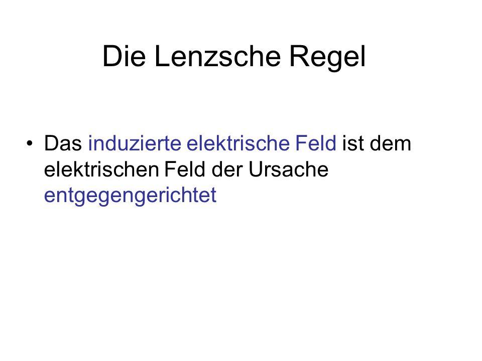 Die Lenzsche Regel Das induzierte elektrische Feld ist dem elektrischen Feld der Ursache entgegengerichtet