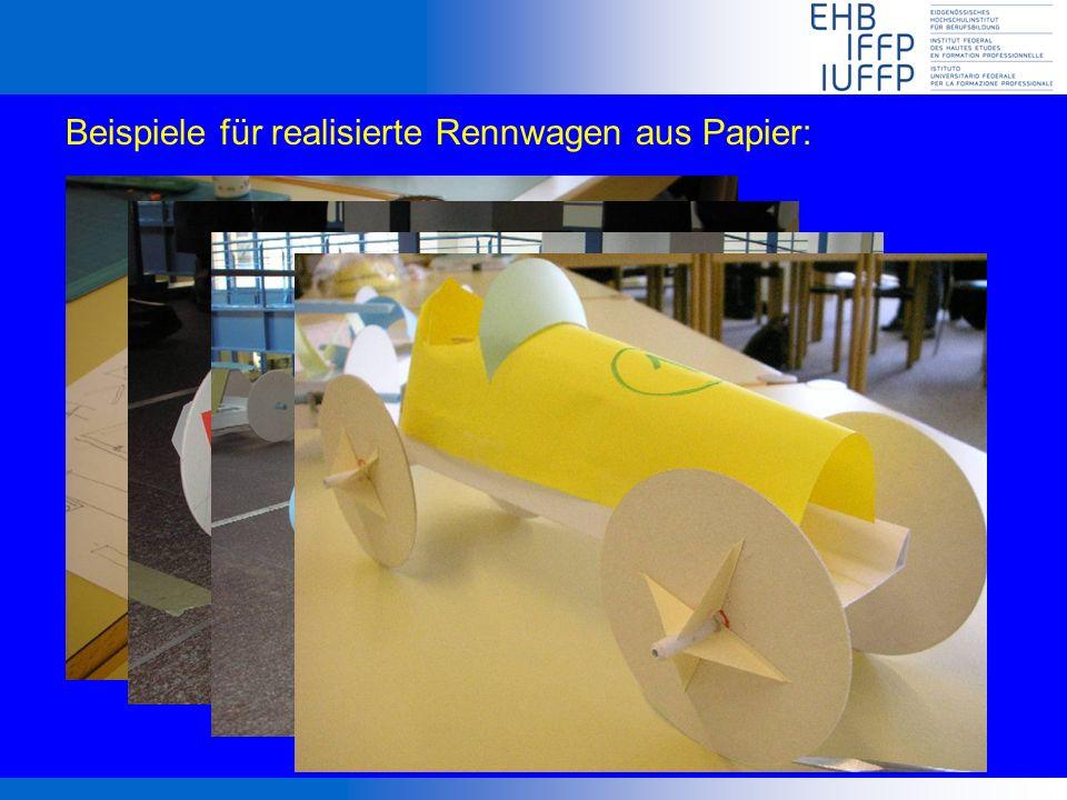 Beispiele für realisierte Rennwagen aus Papier: