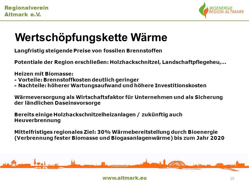 Regionalverein Altmark e.V. Wertschöpfungskette Wärme www.altmark.eu Langfristig steigende Preise von fossilen Brennstoffen Potentiale der Region ersc