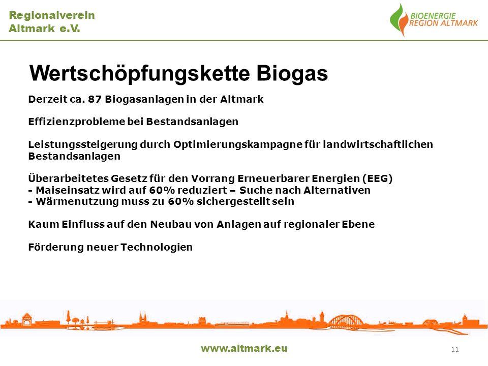 Regionalverein Altmark e.V. Wertschöpfungskette Biogas www.altmark.eu Derzeit ca. 87 Biogasanlagen in der Altmark Effizienzprobleme bei Bestandsanlage