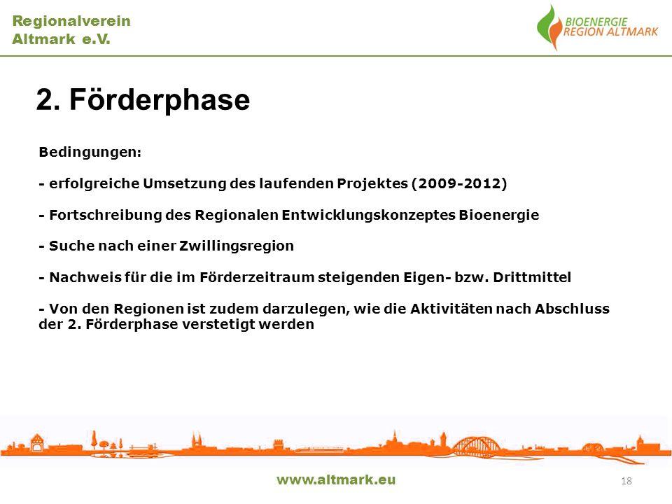 Regionalverein Altmark e.V. www.altmark.eu 2. Förderphase 18 Bedingungen: - erfolgreiche Umsetzung des laufenden Projektes (2009-2012) - Fortschreibun