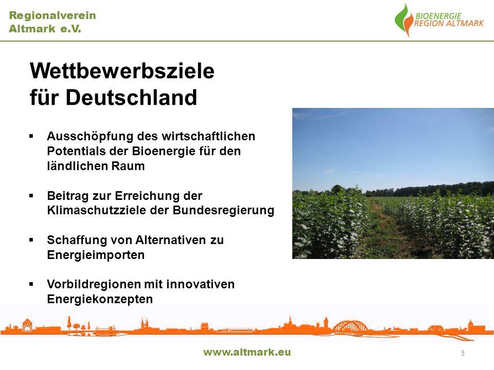 Regionalverein Altmark e.V. www.altmark.eu 3 Wettbewerbsziele für Deutschland Ausschöpfung des wirtschaftlichen Potentials der Bioenergie für den länd