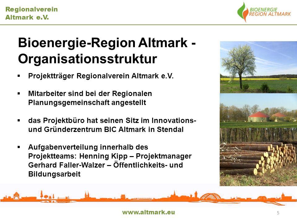 Regionalverein Altmark e.V. www.altmark.eu 5 Bioenergie-Region Altmark - Organisationsstruktur Projektträger Regionalverein Altmark e.V. Mitarbeiter s