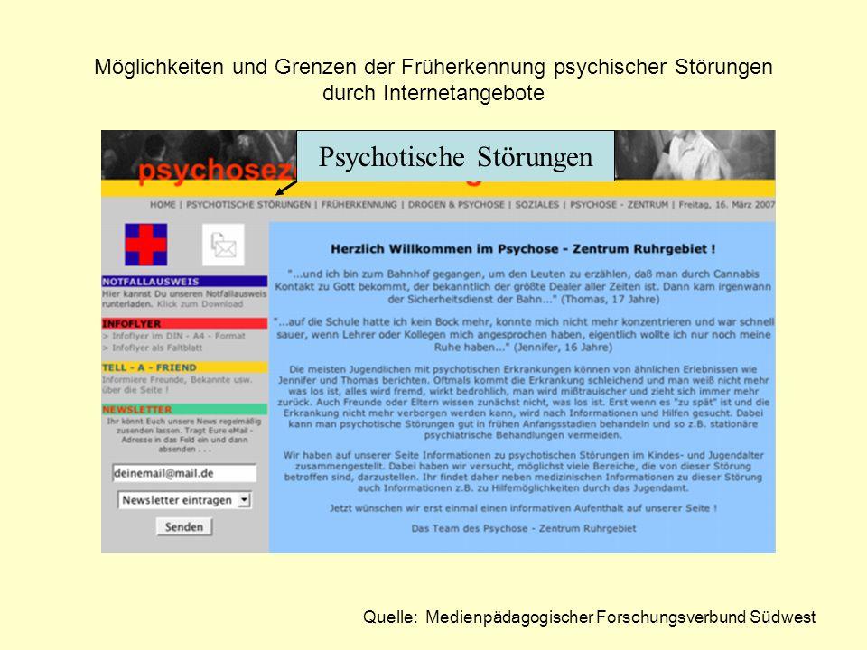Quelle: Medienpädagogischer Forschungsverbund Südwest Psychotische Störungen