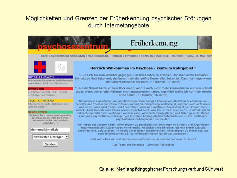Möglichkeiten und Grenzen der Früherkennung psychischer Störungen durch Internetangebote Quelle: Medienpädagogischer Forschungsverbund Südwest Früherk