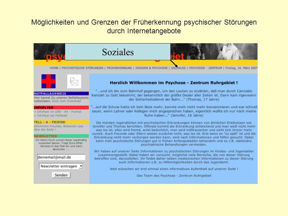 Möglichkeiten und Grenzen der Früherkennung psychischer Störungen durch Internetangebote Soziales