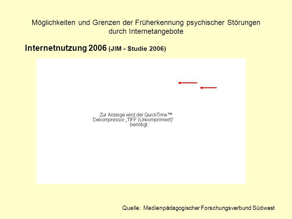 Möglichkeiten und Grenzen der Früherkennung psychischer Störungen durch Internetangebote Internetnutzung 2006 (JIM - Studie 2006) Quelle: Medienpädago