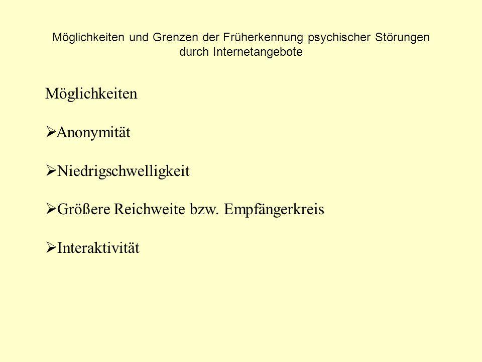 Möglichkeiten und Grenzen der Früherkennung psychischer Störungen durch Internetangebote Grenzen Kein physischer Kontakt - Beurteilung der Person/ Situation etc.