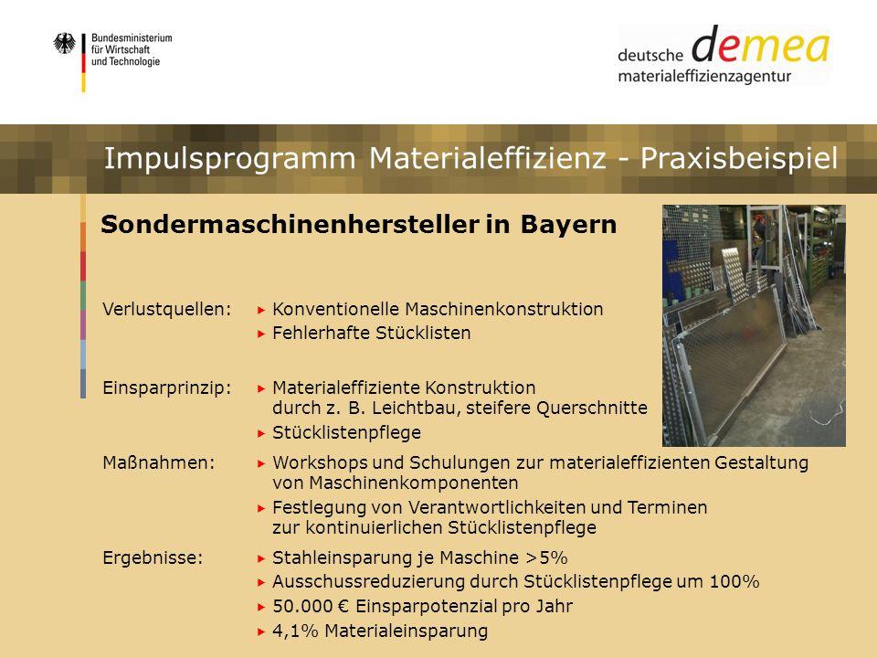 Impulsprogramm Materialeffizienz Sondermaschinenhersteller in Bayern Verlustquellen: Konventionelle Maschinenkonstruktion Fehlerhafte Stücklisten Eins