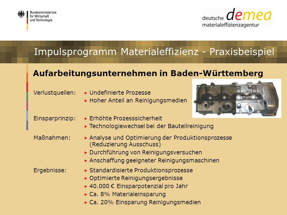Impulsprogramm Materialeffizienz Aufarbeitungsunternehmen in Baden-Württemberg Verlustquellen: Undefinierte Prozesse Hoher Anteil an Reinigungsmedien