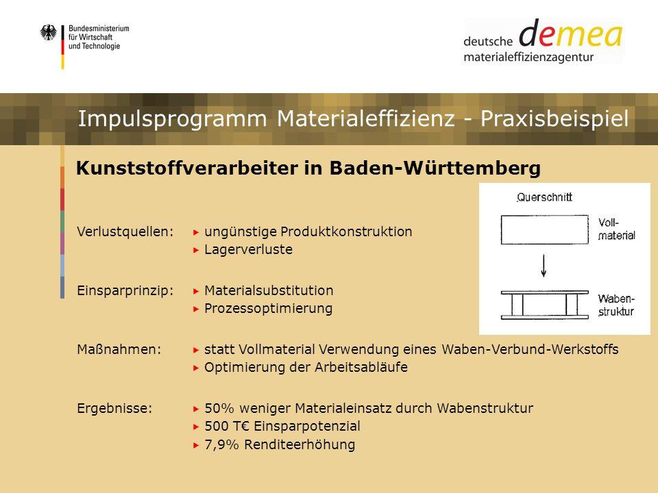 Impulsprogramm Materialeffizienz Kunststoffverarbeiter in Baden-Württemberg Verlustquellen: ungünstige Produktkonstruktion Lagerverluste Einsparprinzi