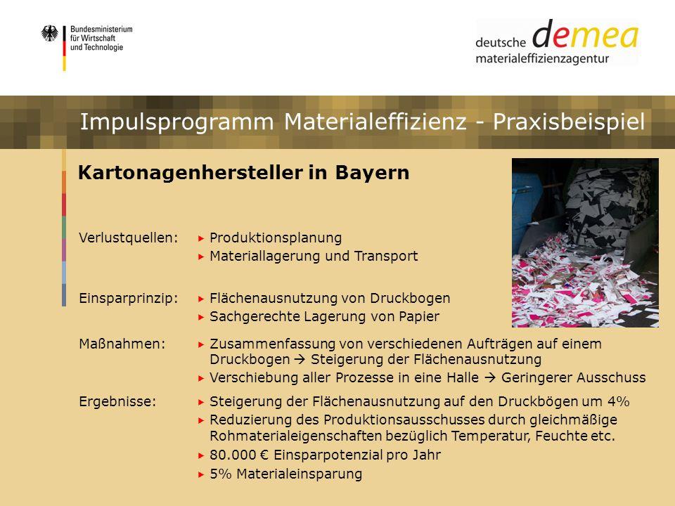 Impulsprogramm Materialeffizienz Kartonagenhersteller in Bayern Verlustquellen: Produktionsplanung Materiallagerung und Transport Einsparprinzip: Fläc