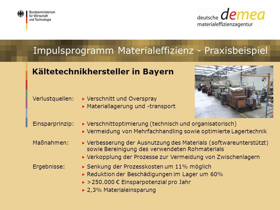 Impulsprogramm Materialeffizienz Kältetechnikhersteller in Bayern Verlustquellen: Verschnitt und Overspray Materiallagerung und -transport Einsparprin