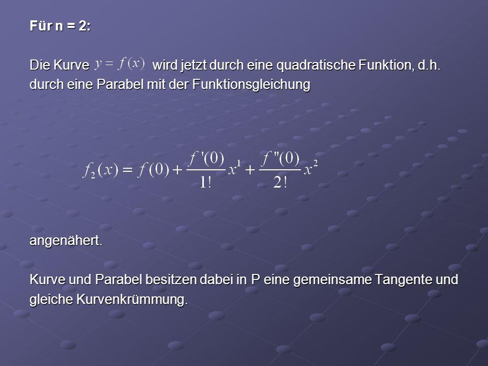 Für n = 2: Die Kurve wird jetzt durch eine quadratische Funktion, d.h. durch eine Parabel mit der Funktionsgleichung angenähert. Kurve und Parabel bes