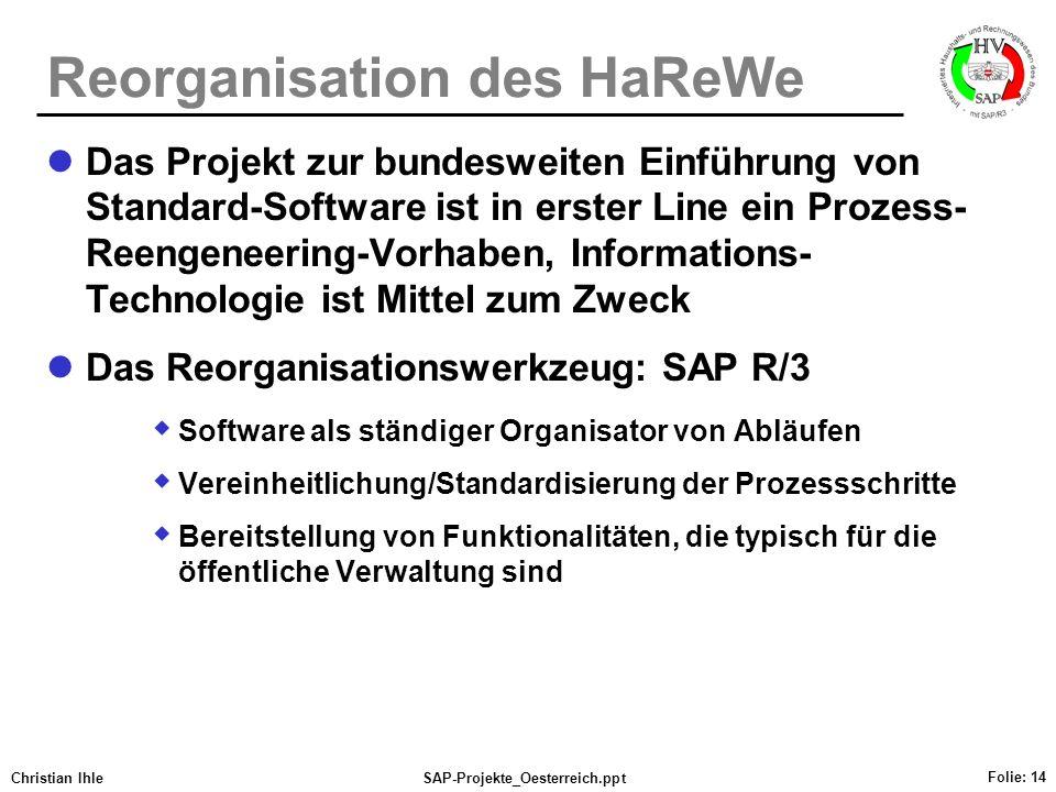Christian IhleSAP-Projekte_Oesterreich.ppt Folie: 14 Reorganisation des HaReWe Das Projekt zur bundesweiten Einführung von Standard-Software ist in er