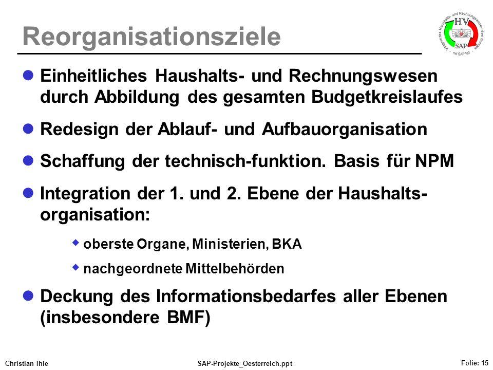 Christian IhleSAP-Projekte_Oesterreich.ppt Folie: 15 Reorganisationsziele Einheitliches Haushalts- und Rechnungswesen durch Abbildung des gesamten Bud