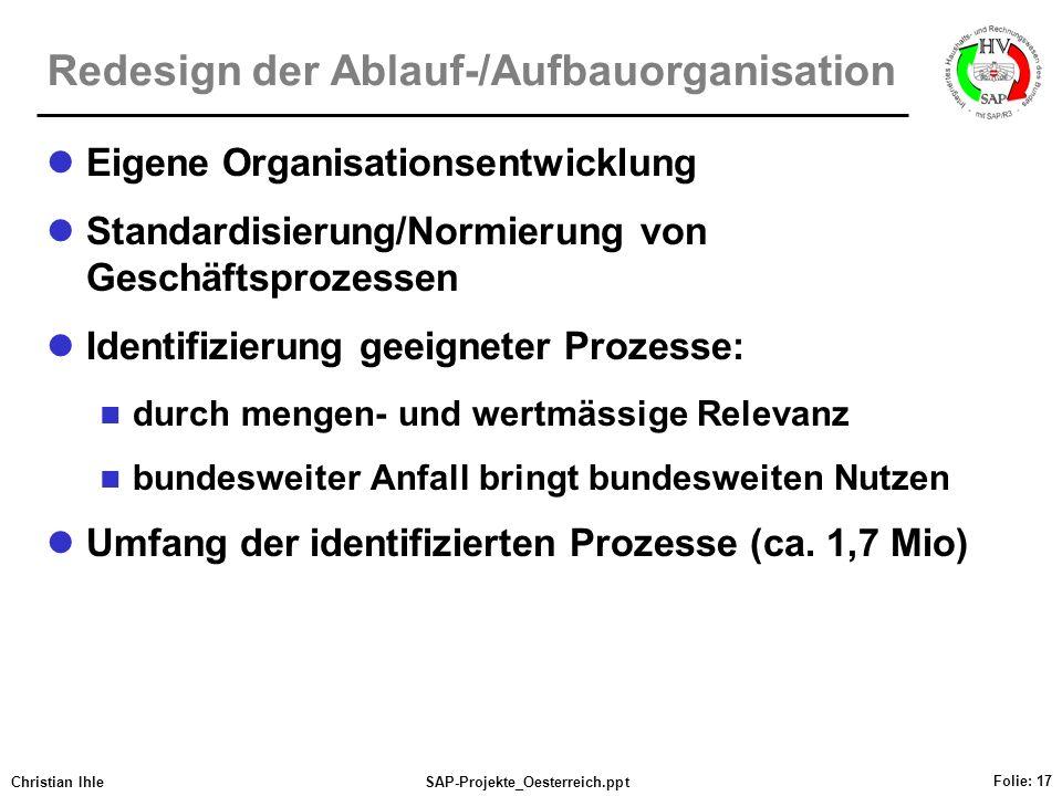 Christian IhleSAP-Projekte_Oesterreich.ppt Folie: 17 Redesign der Ablauf-/Aufbauorganisation Eigene Organisationsentwicklung Standardisierung/Normieru