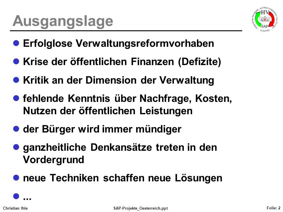 Christian IhleSAP-Projekte_Oesterreich.ppt Folie: 2 Ausgangslage Erfolglose Verwaltungsreformvorhaben Krise der öffentlichen Finanzen (Defizite) Kriti