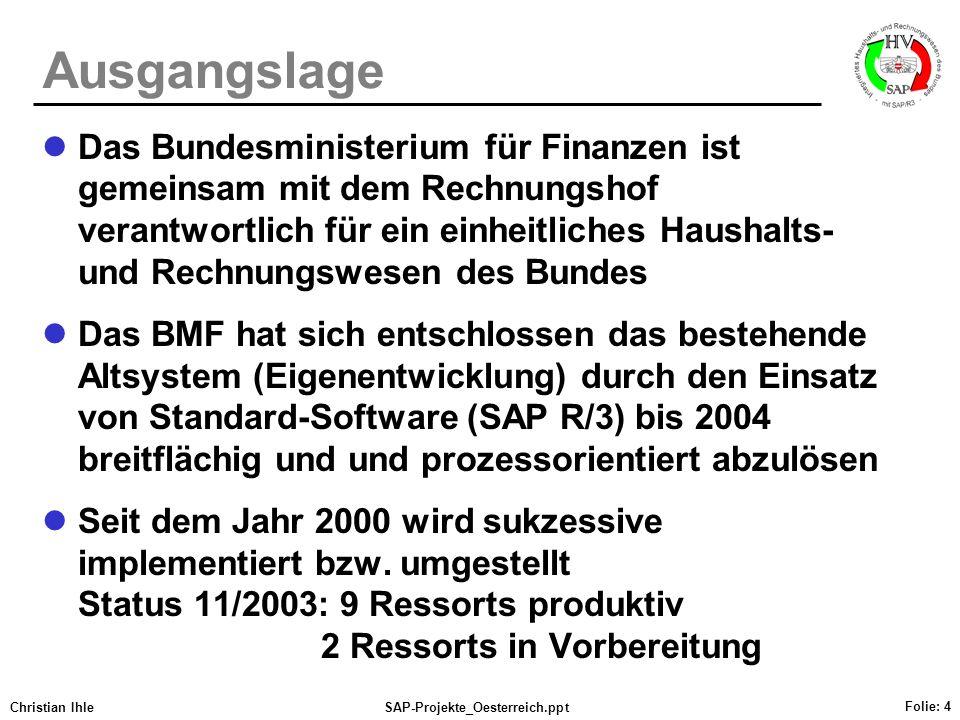 Christian IhleSAP-Projekte_Oesterreich.ppt Folie: 4 Ausgangslage Das Bundesministerium für Finanzen ist gemeinsam mit dem Rechnungshof verantwortlich