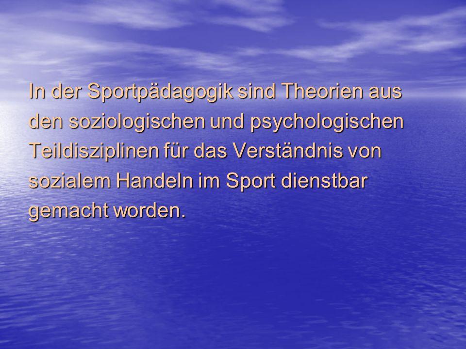 In der Sportpädagogik sind Theorien aus den soziologischen und psychologischen Teildisziplinen für das Verständnis von sozialem Handeln im Sport dienstbar gemacht worden.