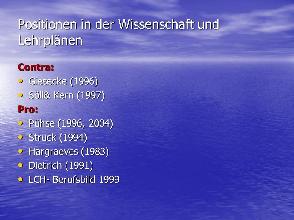 Positionen in der Wissenschaft und Lehrplänen Contra: Giesecke (1996) Giesecke (1996) Söll& Kern (1997) Söll& Kern (1997)Pro: Pühse (1996, 2004) Pühse (1996, 2004) Struck (1994) Struck (1994) Hargraeves (1983) Hargraeves (1983) Dietrich (1991) Dietrich (1991) LCH- Berufsbild 1999 LCH- Berufsbild 1999
