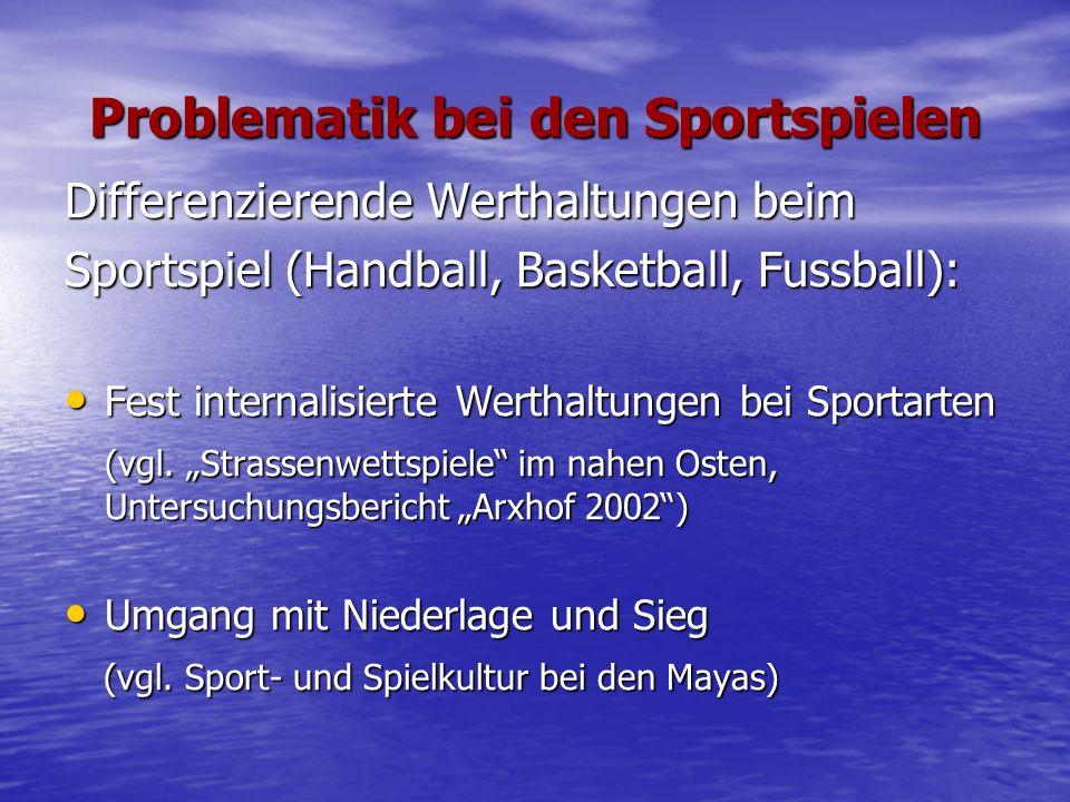 Problematik bei den Sportspielen Differenzierende Werthaltungen beim Sportspiel (Handball, Basketball, Fussball): Fest internalisierte Werthaltungen bei Sportarten Fest internalisierte Werthaltungen bei Sportarten (vgl.