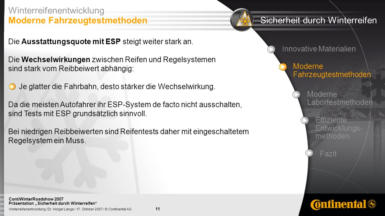 11 Winterreifenentwicklung / Dr. Holger Lange / 17. Oktober 2007 / © Continental AG ContiWinterRoadshow 2007 Präsentation Sicherheit durch Winterreife