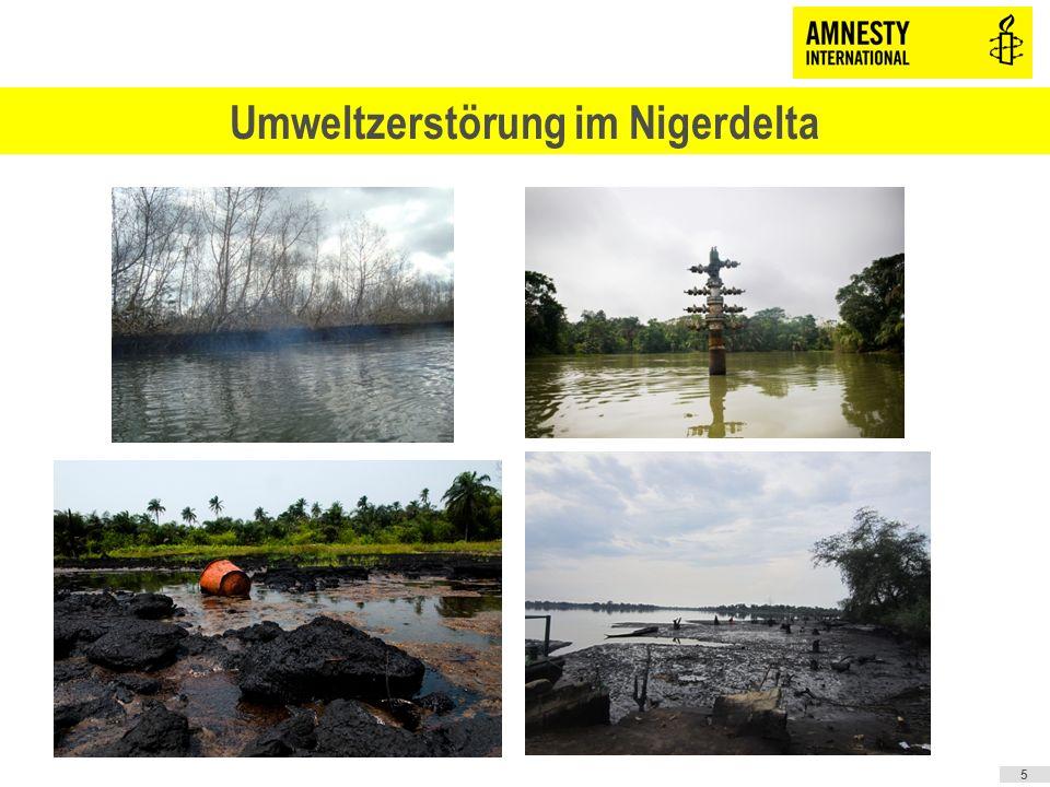 sHauptgrund: Öllecks Über 6.800 Öllecks zwischen 1976 – 2001 dokumentiert Dunkelziffer viel höher Die Öllecks werden nicht rasch und kompetent beseitigt sGasabfackeln (obwohl seit 1984 verboten) sAbleitung kontaminierten Wassers sMüllhalden unsachgemäße Lagerung der Restbestände von Bohrungen sStraßen quer durch das Naturreservat des Nigerdeltas 6 Umweltzerstörung im Nigerdelta – Ursachen Laut UNO-Umweltprogramm UNEP würde die Natur im Nigerdelta mindestens 25 Jahre benötigen, um sich zu erholen!